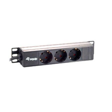 """EQUIP Regleta Aluminio Rack 10"""" 1U 3Tomas (EQ333299)"""