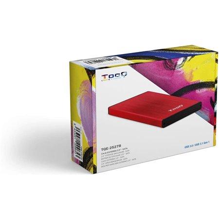 """Caja HDD TOOQ 2.5"""" SATA USB3 Rojo  (TQE-2527R)"""
