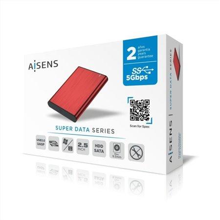 """Caja HDD AISENS 2.5"""" SATA A Usb3 Rojo (ASE-2525RED)"""
