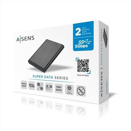 """Caja HDD AISENS 2.5"""" SATA a Usb3 Negro (ASE-2525B)"""